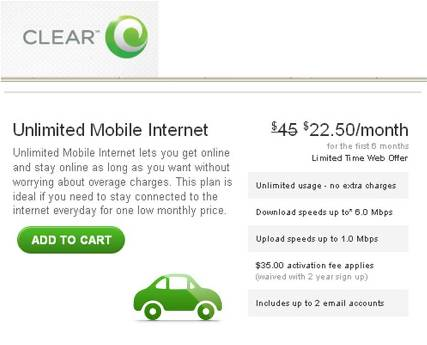 Clearwire Clear discount WiMAX pricing Philadelphia