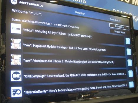 Motorola Twitter set-top MOTOBLUR SCTE Cab-Tec Expo 2009